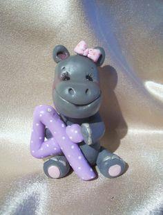 hippo birhtday cake topper decor polymer clay personalized Christmas ornament animal children. $23.95, via Etsy.
