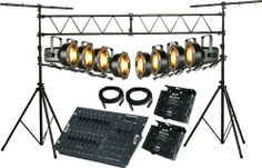 Lighting Stage Lighting System 1 by Lighting. $499.99. This pack of stage lighting equipment includes 8 PAR 38 cans, an Elation Stage Pak Dimmer System (includes Stage Setter-8 DMX controller, 2 - 25' XLR to XLR cables, and 2 DP-415 dimmers), and a truss-style lighting stand for professional and very stable mounting......