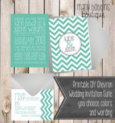 Printable DIY Chevron Wedding Invitation by MaryBobbinsBoutique, $15.00 --- @MARI TORRES  LOVE!!!