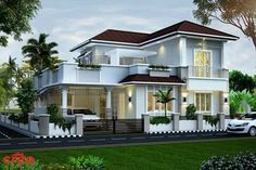 Beautiful 4 bedroom villa exterior in 1940 Square Feet Square Meter) Square Yards). Designed by Creo Homes, Cochin, Kerala. Bungalow House Design, House Front Design, Modern House Design, Contemporary Design, Dream House Exterior, Dream House Plans, Modern House Plans, Residential Architecture, Architecture Design
