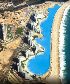 The Crystal Lagoon is located at the San Alfonso del Mar resort in Algarrobo, Chile, is the world's largest outdoor pool, stretching more than half of a mile and filled with 66 million gallons of water.