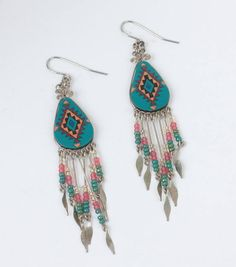 Southwestern Design Dangle Earrings Beaded Drops French Hooks