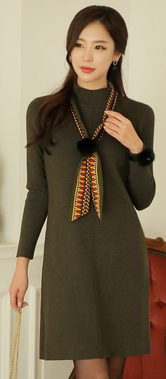 StyleOnme_Mock Neck Long Sleeve Knit Dress #olive #green #knitdress #dailylook #feminine #koreanfashion #wintertrend #kstyle #seoul #elegant #dress