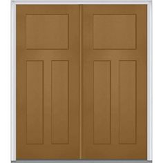 Milliken Millwork 74 in. x 81.75 in. 3 Panel Shaker Painted Fiberglass Smooth Exterior Double Door, Craft Paper