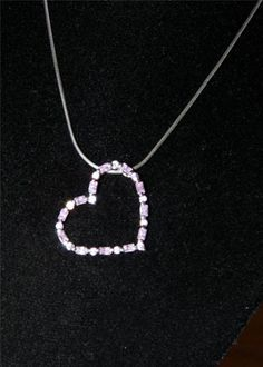 Stunning Sterling Silver necklace with pink ice heart pendant IA10 #Unbranded #Pendant