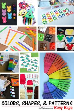 Love these busy bags! Lots of ideas for teaching kids about colors, shapes, and patterns {OneCreativeMommy.com}