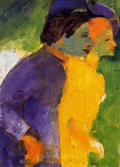 Emil Nolde - Couple (Violet and Yellow), watercolor