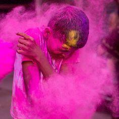 Indian boy playing holi