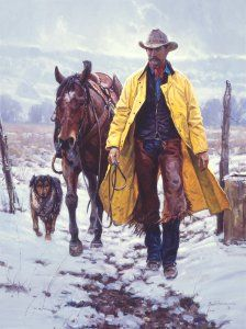 Callin' It a Day by Martin Grelle - This is the first Grelle cowboy release in more than four years. It is vintage Grelle - a cowboy with his two best friends, his horse and his dog. At the end of the day, the three return home together. The snow is dry and  cold, the slicker whips in the wind and the inside of a barn looks like paradise.