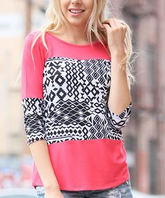 This 42POPS Coral Geometric Scoop Neck Top by 42POPS is perfect! #zulilyfinds