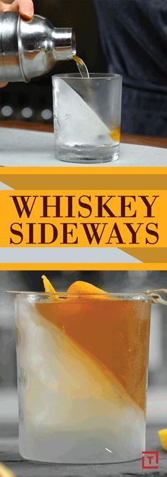 """The whiskey sideways (whiskey on the rocks' mysterious, sophisticated, and sexy cousin) is made with bourbon, vanilla bean, lemon, cinnamon, honey, and peach brandy. Pour it into a glass with a sideways ice """"cube"""" to bump up your bourbon,"""