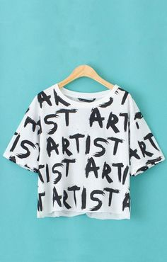 Letters Printing Short Sleeves Casual T-shirt