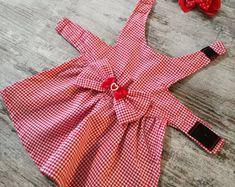Harnais robe petit chien vichy rouge et blanc - Taille XXS