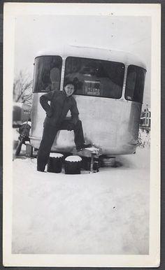 Vintage Photo Man in Snow w/ Spartan Travel Trailer Mobile Home 759824 | eBay
