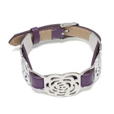purple leather bangle, stainless steel clasp, 04216