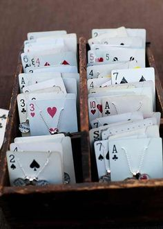 Use playing cards to display jewelry