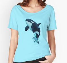 """Apparel • Watercolor art of southern resident killer whale J2 """"Granny"""" by Amber Marine ••• AmberMarineArt.com © •••"""