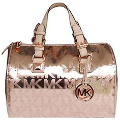 Pre-owned Michael Kors Grayson Medium Mirror Metallic - Rose Gold... ($298) ❤ liked on Polyvore featuring bags, handbags, rose gold, pre owned purses, metallic purse, rose gold metallic handbags, michael kors handbags and satchel hand bags