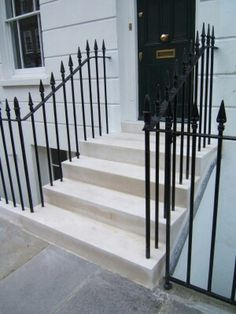 Details relating to Portland Stone steps, as supplied and fitted by English City Stone. Front Path, Front Door Steps, Victorian Townhouse, Victorian Homes, Victorian Front Garden, York Stone, Portland Stone, Outdoor Steps, Front Gardens