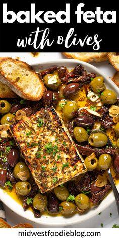 Vegetarian Recipes, Cooking Recipes, Healthy Recipes, Baked Feta Recipe, Appetizer Recipes, Dinner Recipes, Appetizer Ideas, Roasted Olives, Baked Cheese