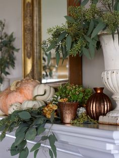 Pumpkins, eucalyptus and a few copper votives make for an easy and classic fall mantel! This was from last year and I'm sharing it for… Fall Mantel Decorations, Decoration Table, Thanksgiving Decorations, Mantel Ideas, Thanksgiving Table, Fall Home Decor, Autumn Home, Fall Inspiration, Autumn Decorating