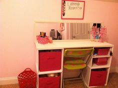 DIY Vanity we made for Lainey really cheap using stackable crates from Target and $2 piece of wood from Home Depot.