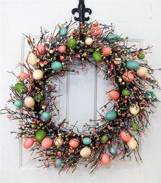 "Spring Wreath - 22"" Easter Wreath - Easter Egg Decor - Easter Egg Wreath - Fireplace Wreath - Easter Bunny - Foyer Wreaths - X Large Wreath by Designawreath on Etsy"