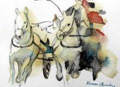 Horses, watercolour by Vanessa d'Azevedo