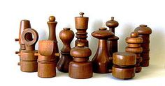 Collection of 12 teak peppermills from the 1950s-70s by Jens Quistgaard for Dansk Denmark. Six feature the Peugeot Lion grinding mechanism. Tocadero is asking $1800.