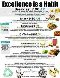 Sample food schedule and foods