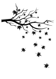 Wall Decals Falling Leaves- Art Without Boundaries Simple Wall Paintings, Wall Painting Decor, Wall Decals, Wall Art, Wall Mural, Fall Drawings, Gravure Laser, Cartoon Trees, Leaf Silhouette