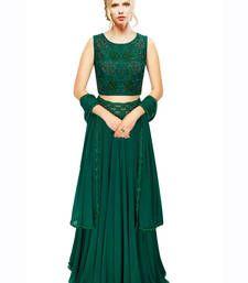 Buy Green Hand Embroidered Georgette Designer Lehenga with Blouse lehenga-choli online