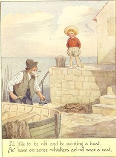 Vintage 1920's Margaret Tarrant Children's Print Young Boy Watches Old Man…