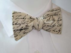 Mens bowtie  - Timeless treasures script fabric - freestyle / self tie classic shape bowtie