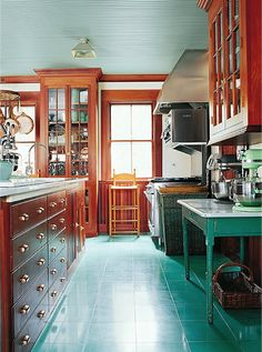 SEPTEMBER 15, 2014 The Inspiration Behind My Kitchen Designs | I love the combination of warm woods and teal blues!