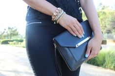 Luv her tiffany blue nails and the Amelie, Christina and Jacinthe Bracelets, Tia Cross Body purse all at www.stelladot.com/ginellelovewell