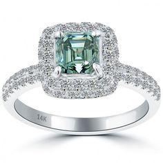 2.19 Carat Fancy Blue Asscher Cut Diamond Engagement Ring 14k White Gold Pave Halo - Blue Diamond Rings - Color Rings