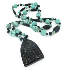 Vintage Art Deco Egyptian Revival Neiger Brothers Scarab Pharaoh Black Turquoise Glass Bead Necklace | Clarice Jewellery | Vintage Costume Jewellery