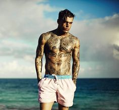 Preview from our 2015 collection shot in Barbados with tattoo model Stephen James. Photographed by Adam Fussell.
