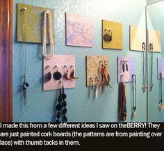 Cork Board Jewelry Holders crafts-diy