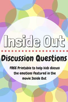 Inside Out Discussion Questions: Helping Kids Learn About Their Emotions – Unseen Footprints – Savannah Clemons – art therapy activities Group Therapy Activities, Feelings Activities, Therapy Worksheets, Therapy Games, Counseling Activities, Kids Therapy, Therapy Ideas For Kids, Children Activities, Therapy Tools