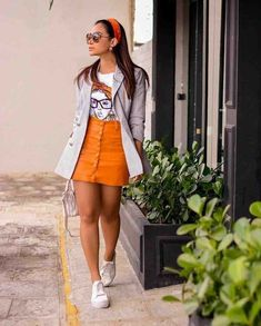 6 looks incríveis com Blazer Indie Outfits, Girly Outfits, Classy Outfits, Stylish Outfits, Beautiful Outfits, Cool Outfits, Summer Outfits, Fashion Outfits, Orange Skirt Outfit