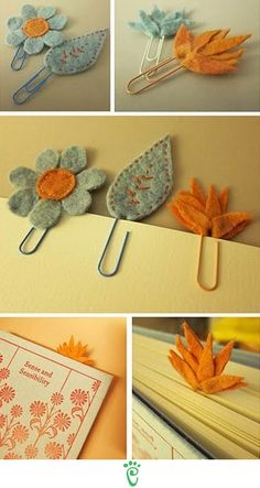 Felt cut-outs and paper clip bookmarks Felt Diy, Felt Crafts, Fabric Crafts, Sewing Crafts, Diy And Crafts, Arts And Crafts, Craft Gifts, Diy Gifts, Craft Projects