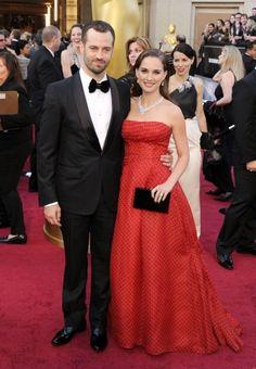 Natalie Portman (in vintage Christian Dior) and Benjamin Millepied arrive at the Oscars