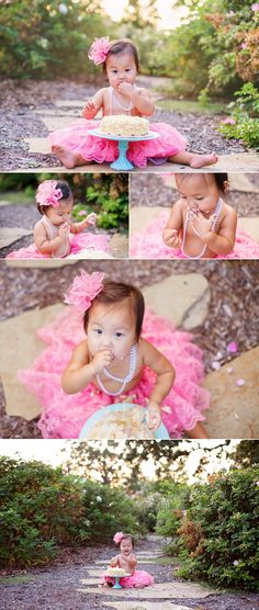 One year cake smash with pink tutu, pearl necklace, and a beautiful girl.