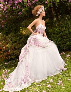 floral purple wedding dress