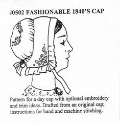 MI0502 1840s to 1850s Lady's Caps Sewing Pattern by