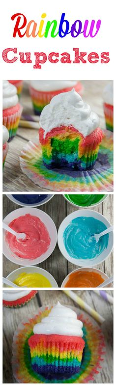 Rainbow Cupcakes - these colorful cupcakes topped with a meringue frosting are perfect for St. Patrick's Day! Boston Girl Bakes