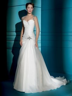 Strapless A-line Chiffon over Satin wedding dress