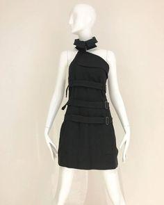90s Jean Paul Gaultier black cotton halter mini dress/top with straps
